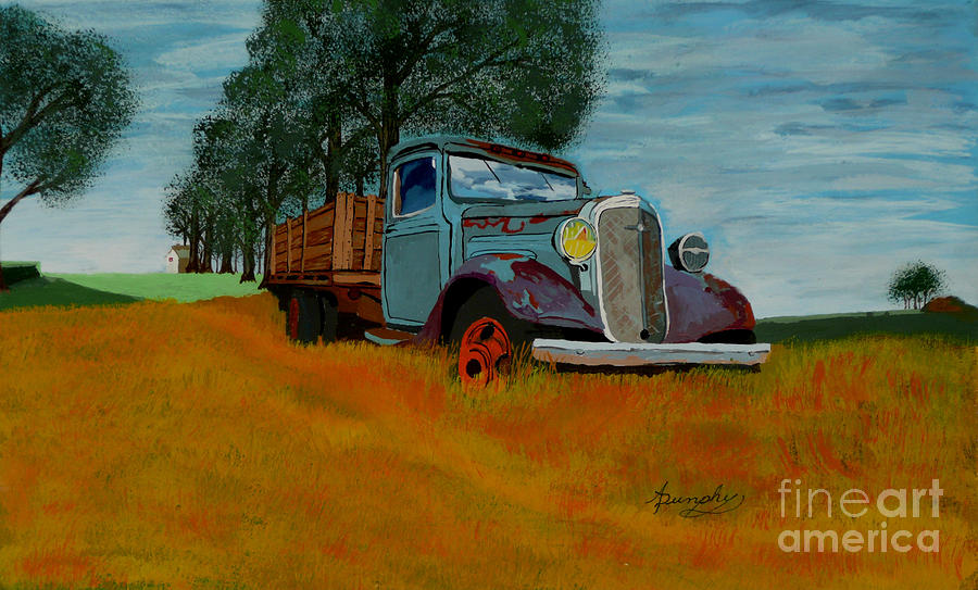 Truck Painting - Out To Pasture by Anthony Dunphy