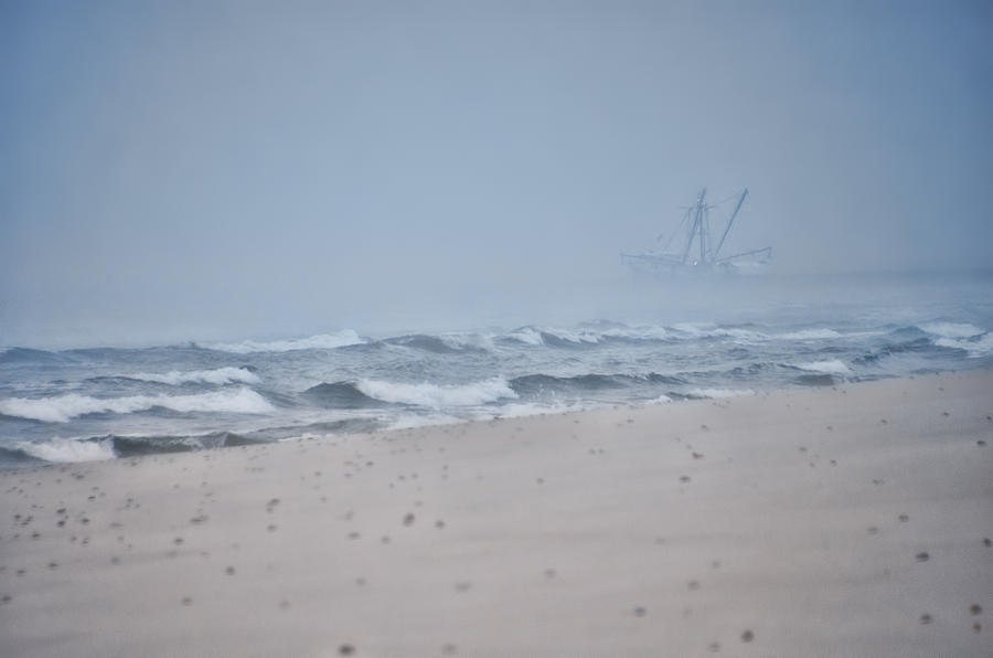 Fishing Boat Photograph - Out To the Foggy Sea - Barnegat Inlet by Beth Sawickie