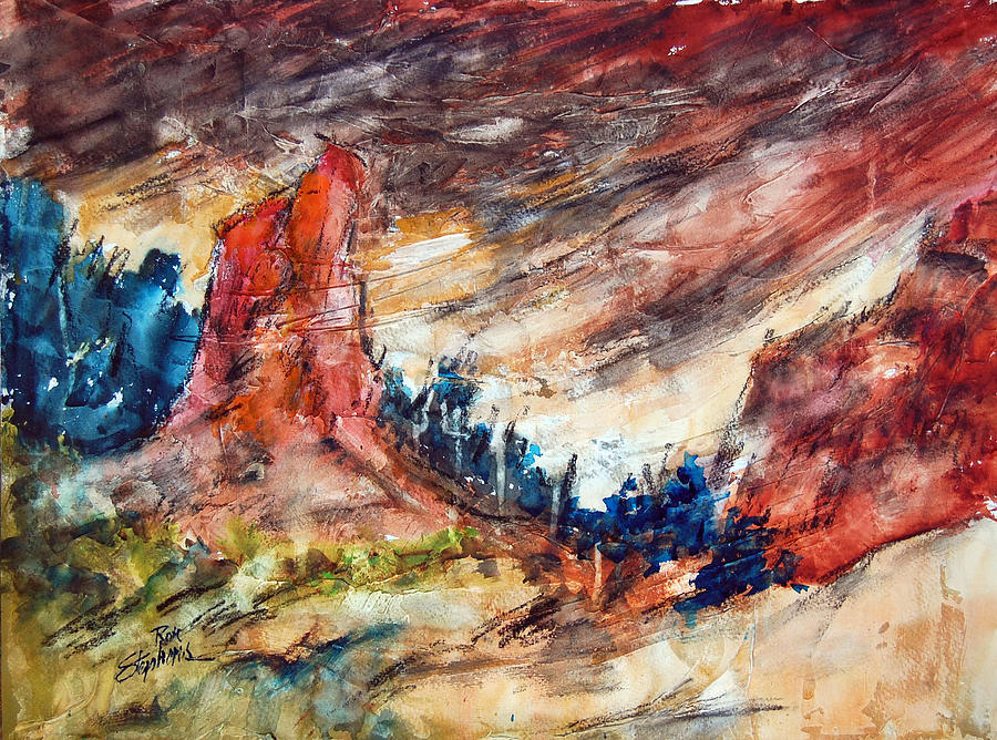 Abstract Landscape Painting - Out West by Ron Stephens