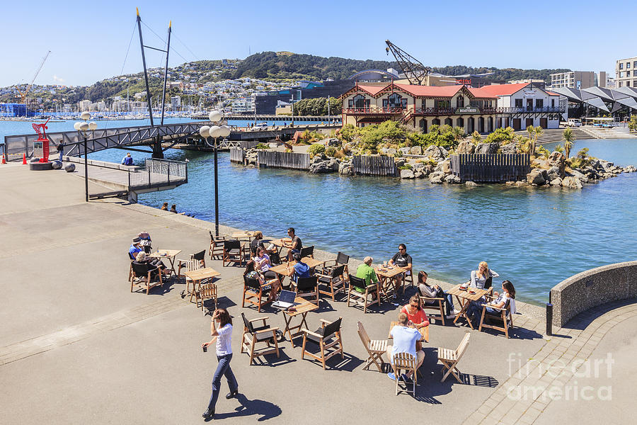 New Zealand Photograph - Outdoor Cafe Wellington New Zealand by Colin and Linda McKie