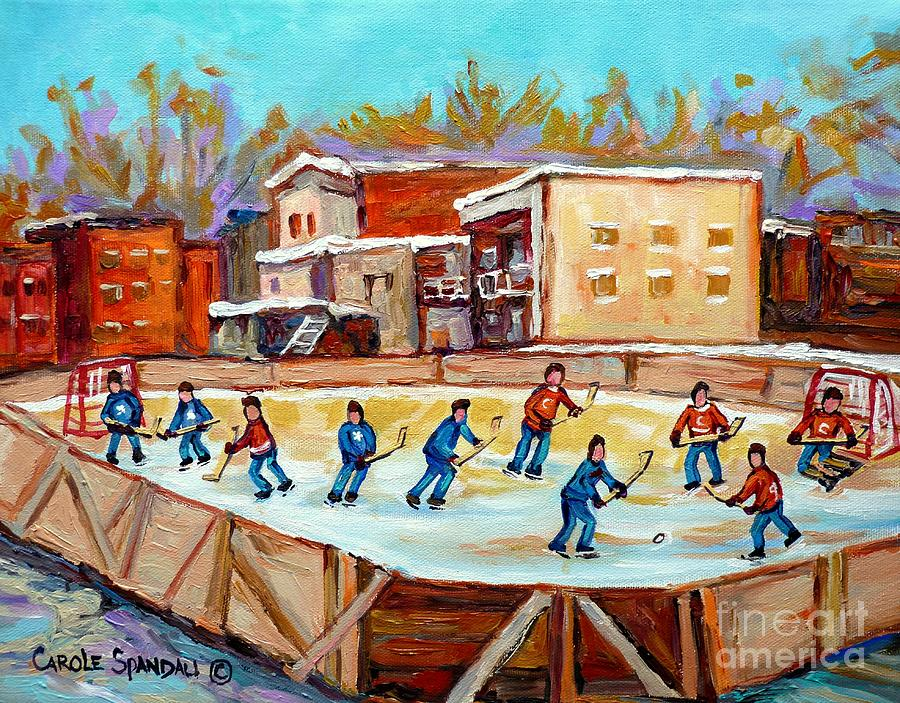 Hockey Painting - Outdoor Hockey Fun Rink Hockey Game In The City Montreal Memories Paintings Carole Spandau by Carole Spandau