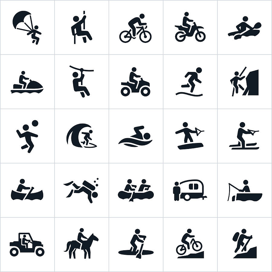Outdoor Summer Recreation Icons Drawing by Appleuzr
