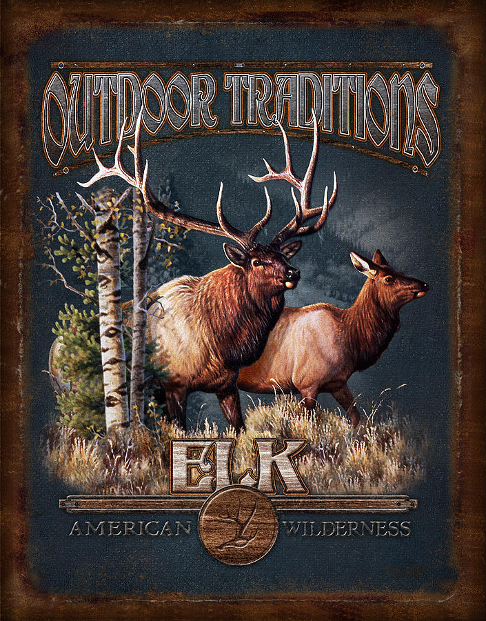 Cynthie Fisher Painting - Outdoor Traditions Elk by JQ Licensing
