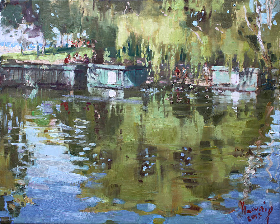 Port Credit Ontario Painting - Outdoors At Port Credit Park by Ylli Haruni