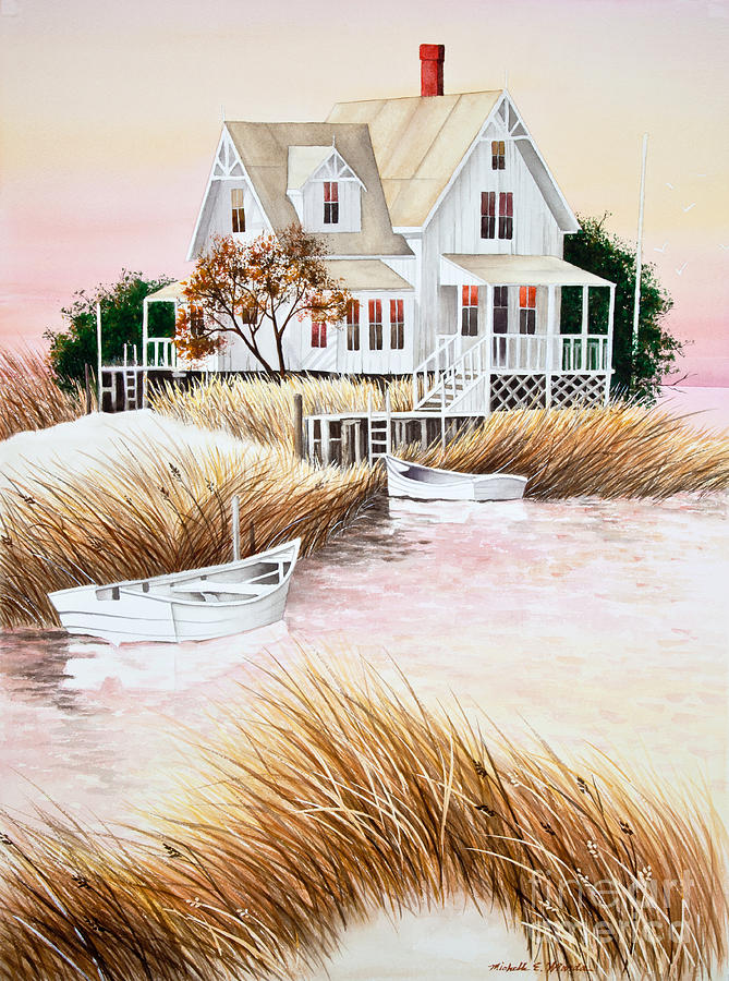 Summer Painting - Outer Banks Summer Morning by Michelle Wiarda-Constantine