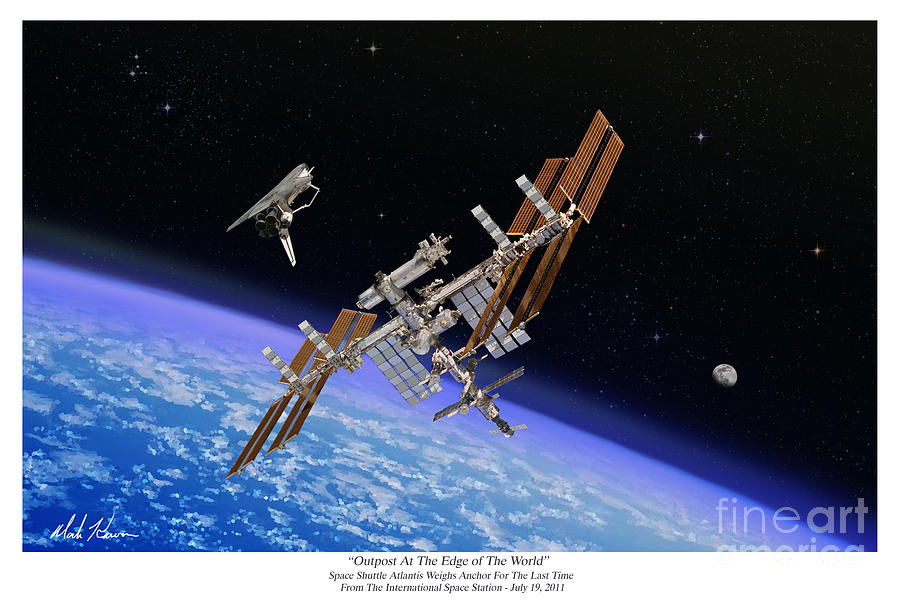 Iss Painting - Outpost At The Edge of The World by Mark Karvon