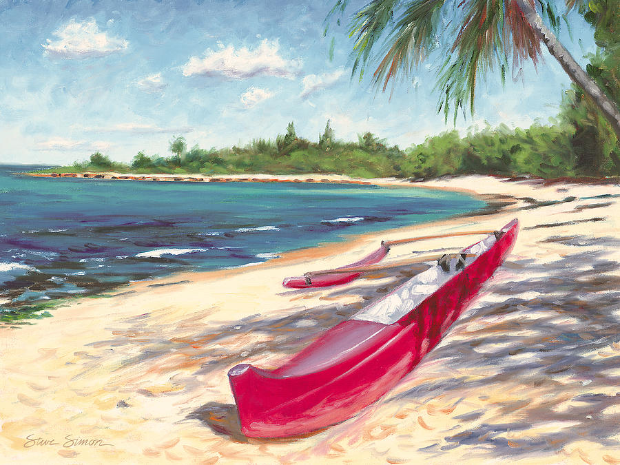 Outrigger Painting - Outrigger - Haleiwa by Steve Simon