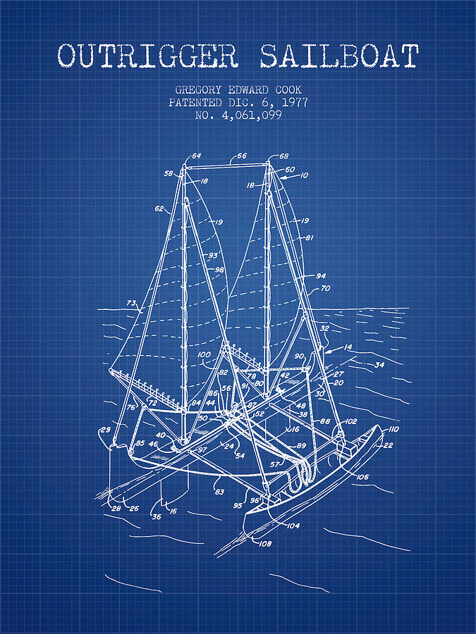 Outrigger sailboat patent from 1977 blueprint digital art by aged sailboat digital art outrigger sailboat patent from 1977 blueprint by aged pixel malvernweather Gallery
