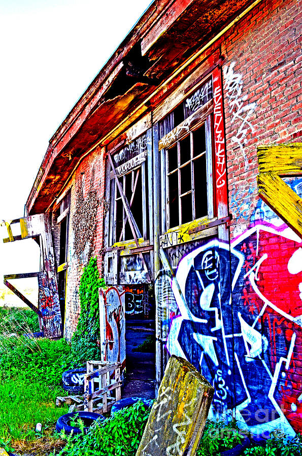 Destroyed Photograph - Outside An Entrance To The Old Train Roundhouse At Bayshore Near San Francisco Altered  by Jim Fitzpatrick