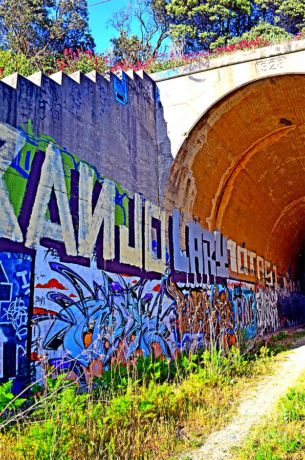 Destroyed Photograph - Outside The Abandoned Train Tunnel South Of The Old Train Roundhouse At Bayshore Near San Francisco  by Jim Fitzpatrick