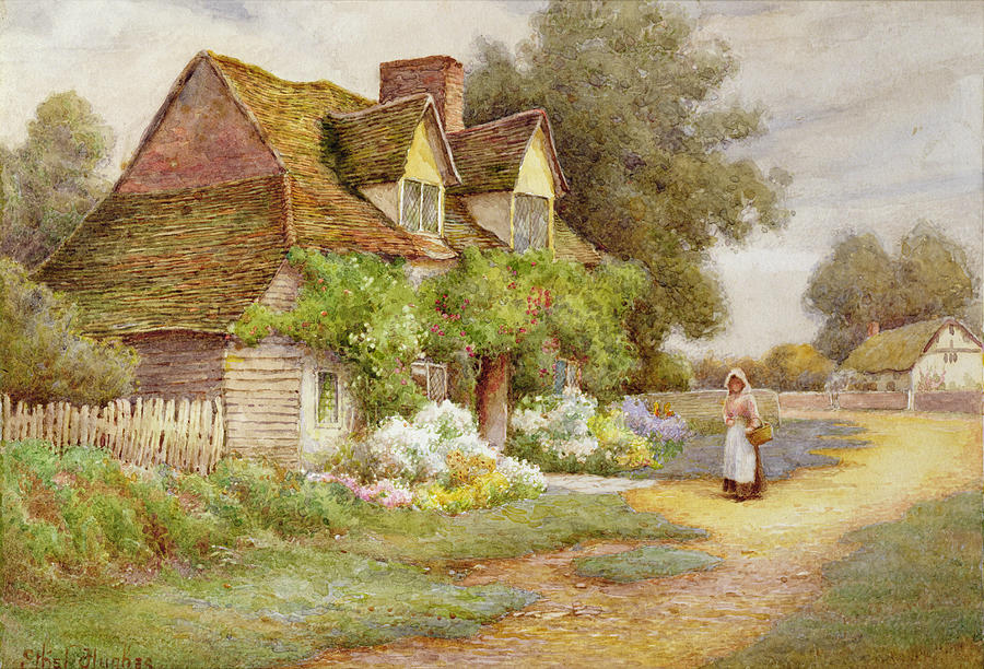 Outside The Cottage Painting By Ethel Hughes