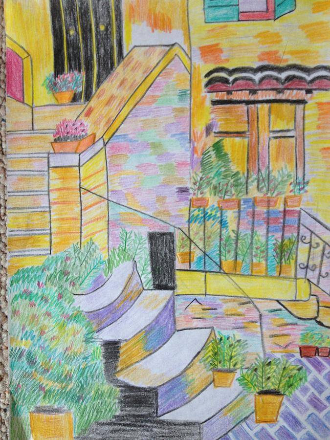 Outside The Home Drawing by Neha  Shah