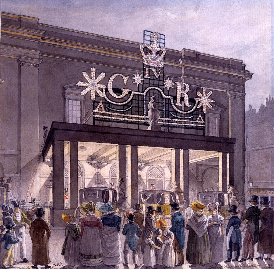 Theatre Royal Drawing - Outside The Theatre Royal, Drury Lane by Robert Blemell Schnebbelie
