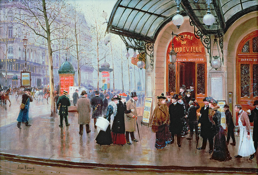Billboard Painting - Outside The Vaudeville Theatre by Jean Beraud