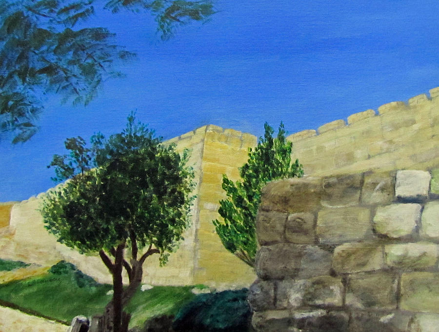 Israel Painting - Outside The Wall - Jerusalem by Linda Feinberg