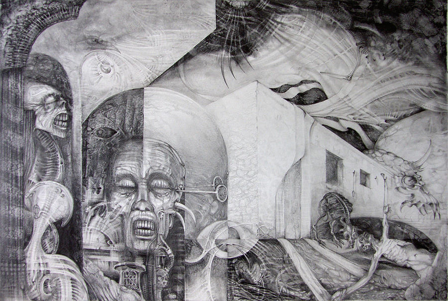 Surreal Drawing - Outskirts Of Necropolis by Otto Rapp