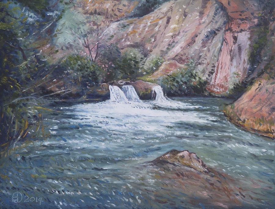 Impressionism Painting - Ouzoud Waterfalls Tanaghmeilt Morocco by Enver Larney