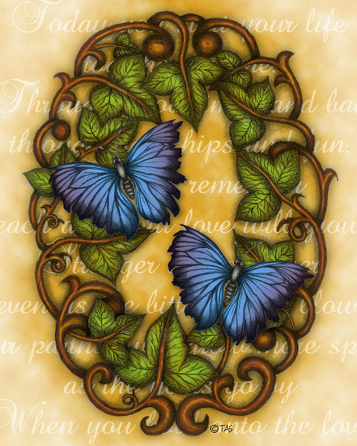 Oval Ivy And Butterflies Painting