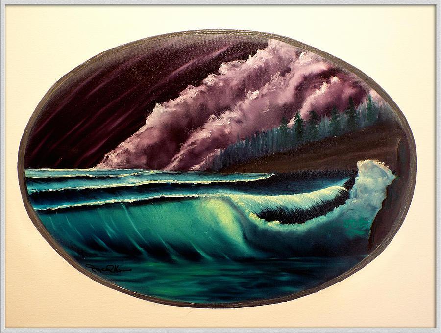 Ocean Painting - Oval Ocean View by Joyce Krenson