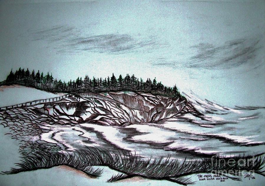 Blue Drawing - Ovens Park Nova Scotia by Janice Rae Pariza