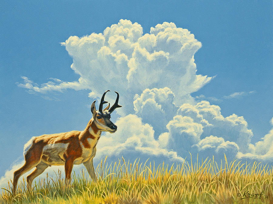 Wildlife Painting - Over The Rise by Paul Krapf
