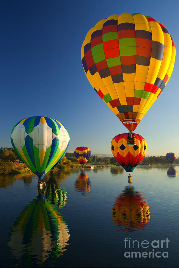Balloons Photograph - Over The Water by Mike  Dawson