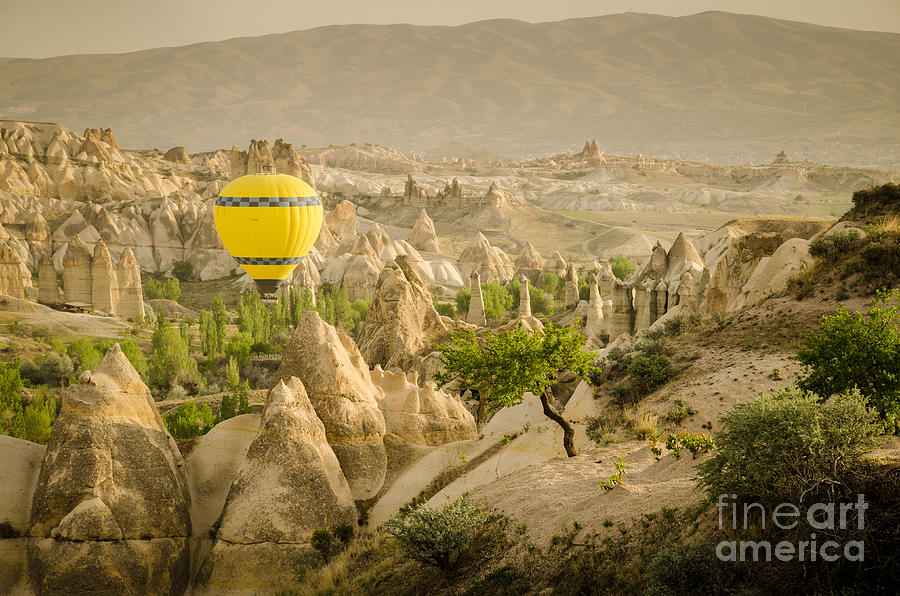 Asia Photograph - Balloon over White Valley - Cappadocia Turkey by OUAP Photography
