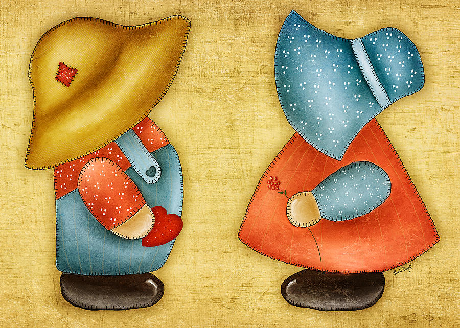 Sunbonnet Painting - Overall Sam And Sunbonnet Sue by Brenda Bryant