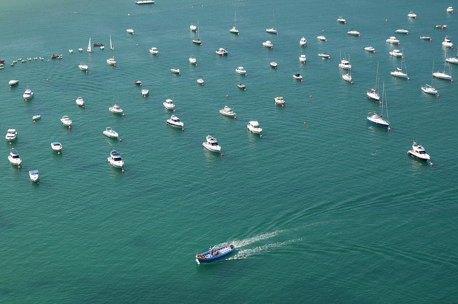 Overhead Of Boats In Port Photograph by Aldo Pavan