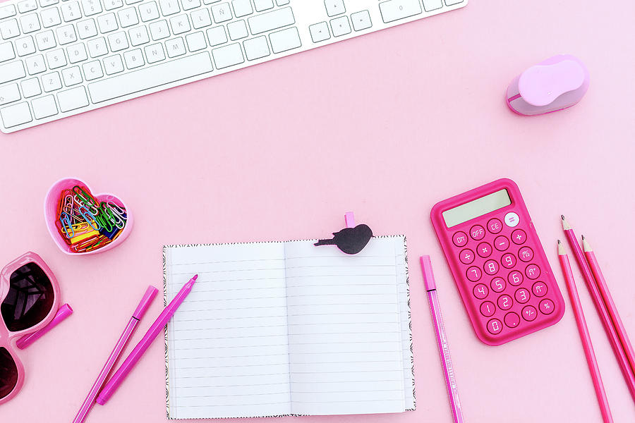 Overhead  Pink Studio Desk Photograph by Carol Yepes