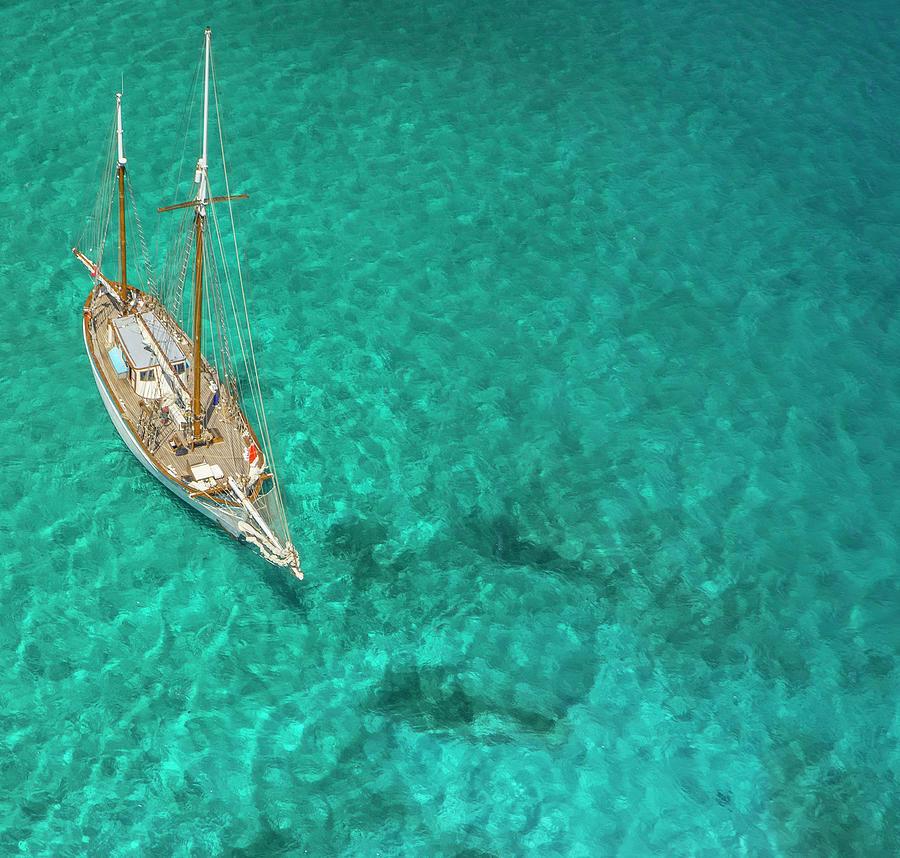 Overhead View Of A Sailboat, Caribbean Photograph by Skyhighstudios