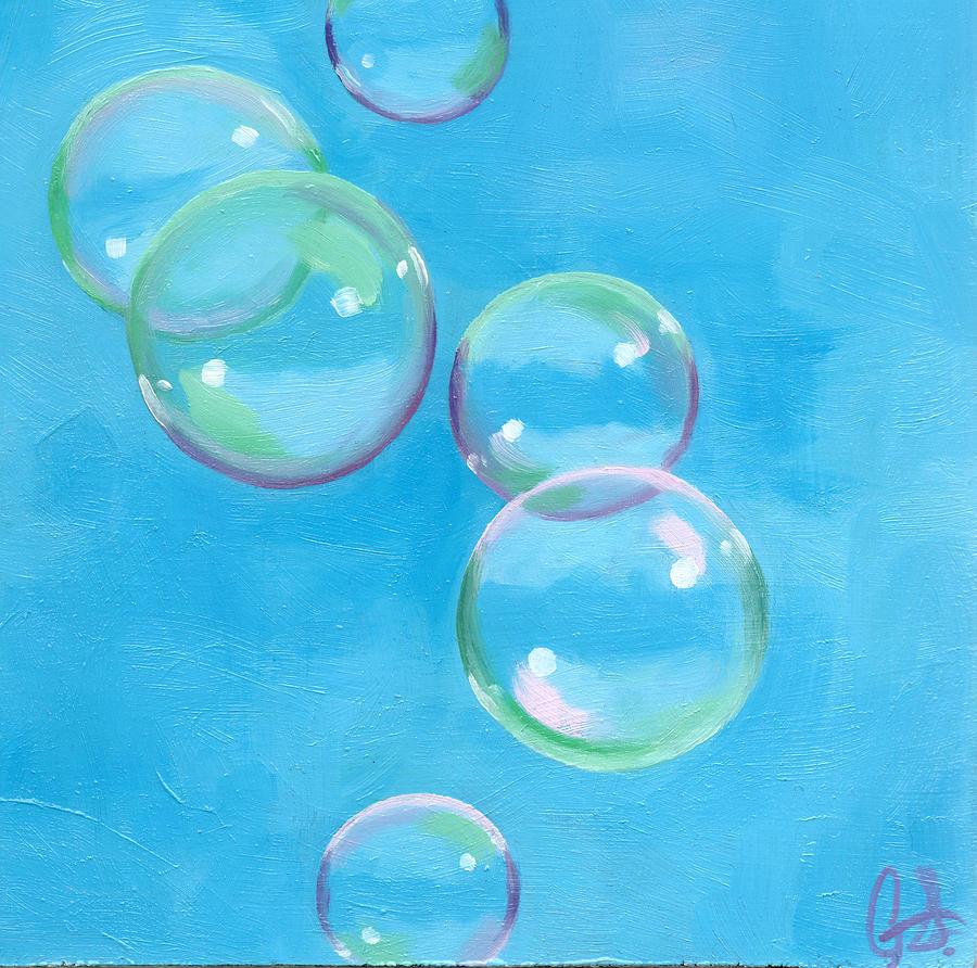 рисунок мыльные пузыри на стене пришли