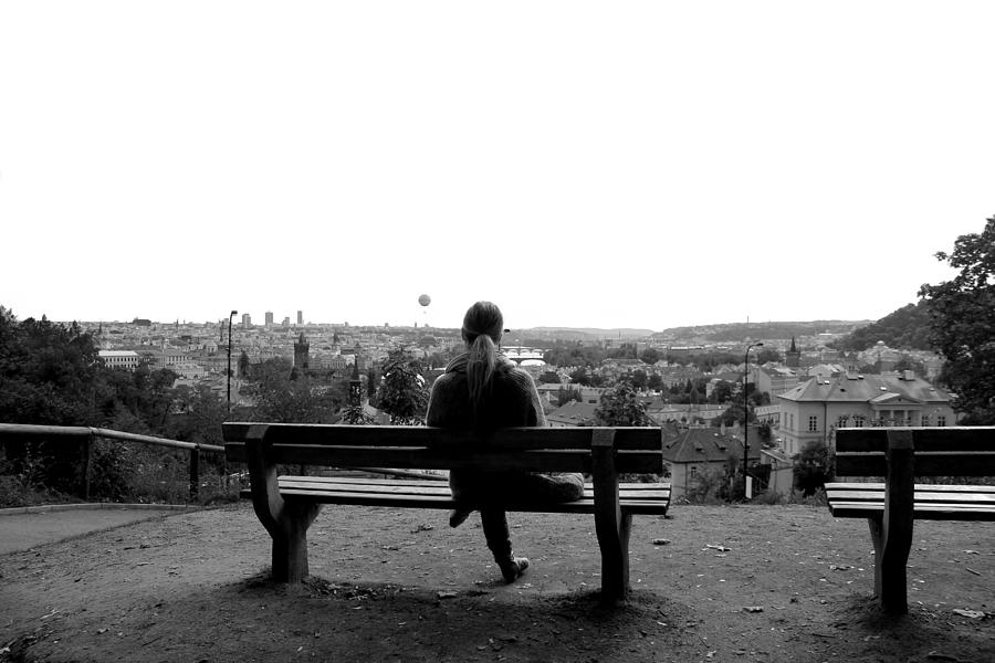 Bench Photograph - Overlooking Praha by Jon Cotroneo