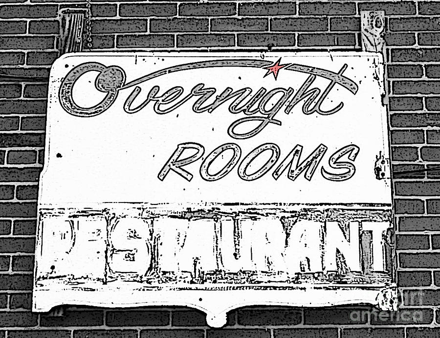 Signs Photograph - Overnight Rooms Sign by Nina Silver