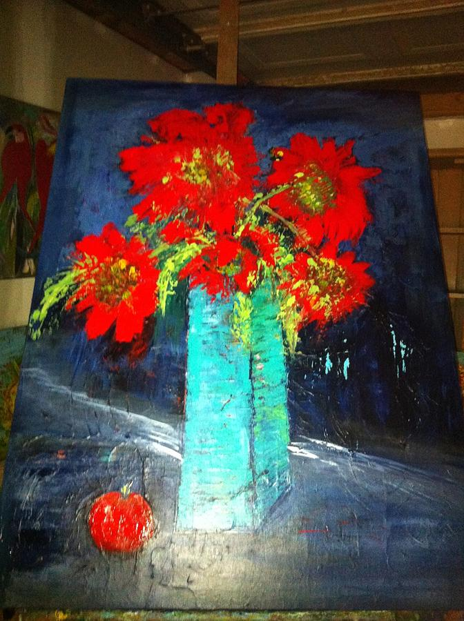 Red Painting - Oversized Poppies With Apple by Anna Tolleson