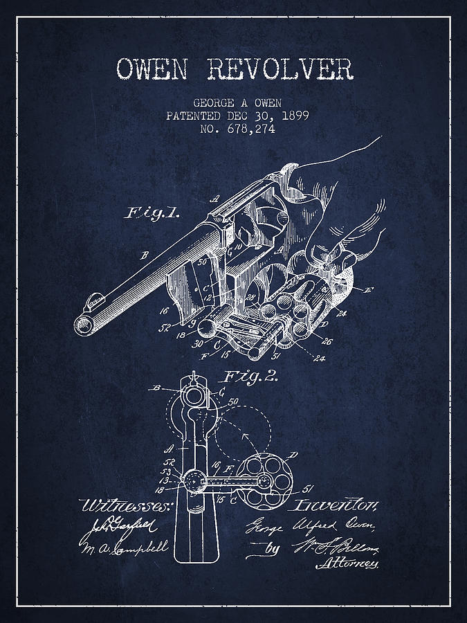 Revolver Digital Art - Owen Revolver Patent Drawing From 1899- Navy Blue by Aged Pixel