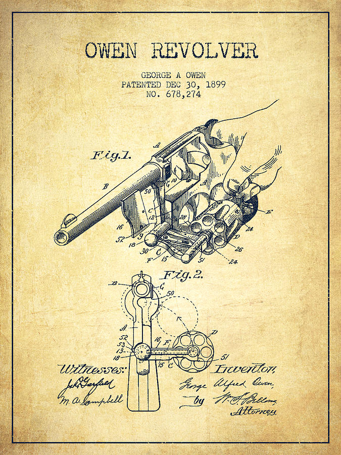 Revolver Digital Art - Owen Revolver Patent Drawing From 1899- Vintage by Aged Pixel