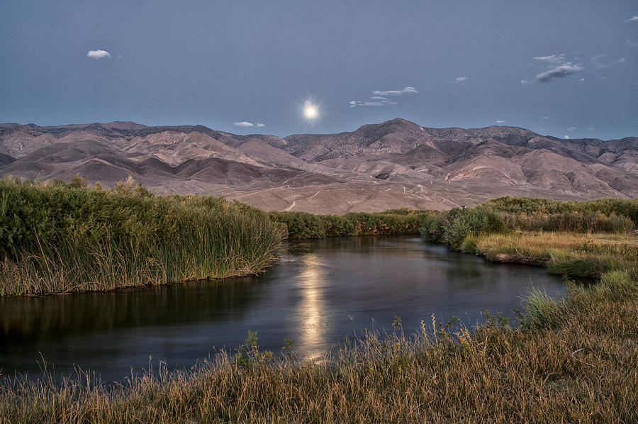 Owens River Moonrise Photograph by Cat Connor