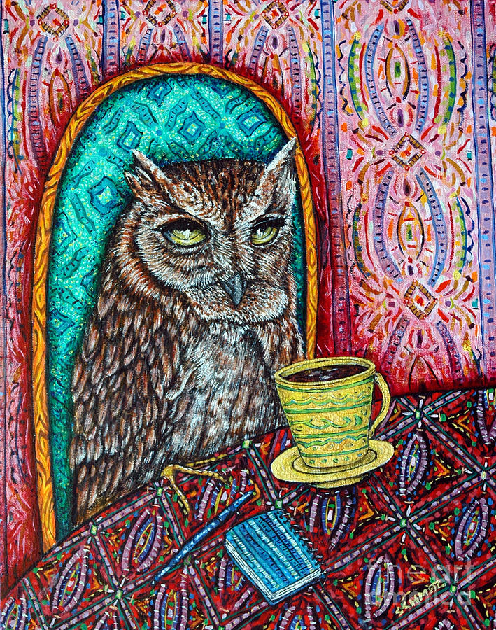 Owl Painting - Owl At The Cafe by Jay  Schmetz
