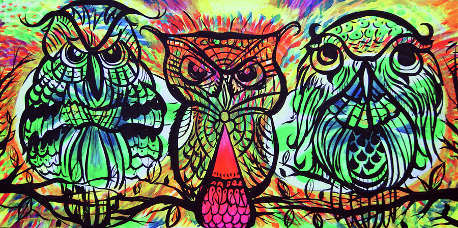 Owls Painting - Owl B Watching by Lorinda Fore and Tony Lima