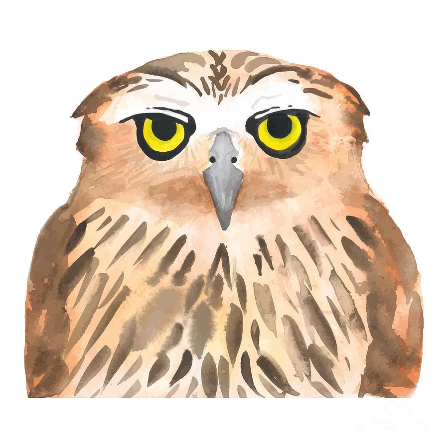 Feather Digital Art - Owl Bird. Watercolor, Vector by Evgeniy Agarkov