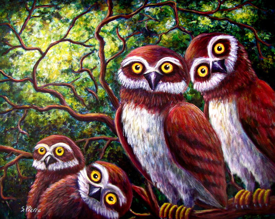 Owl Painting - Owl Family by Sebastian Pierre