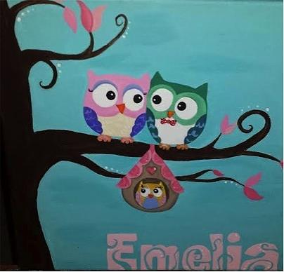 Owl Family Tree Painting For Nursery By Lauren Hammack