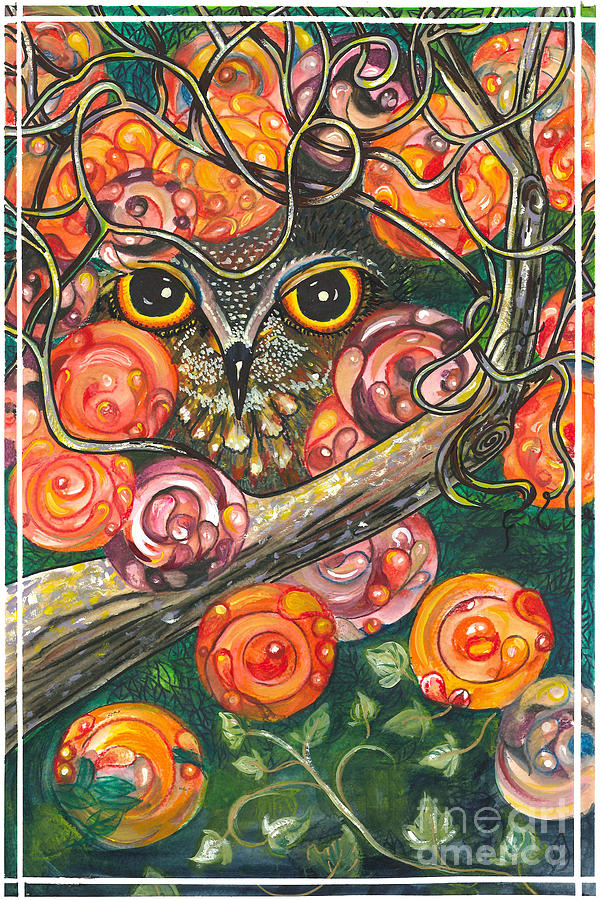 Owl In Orange Blossoms Painting