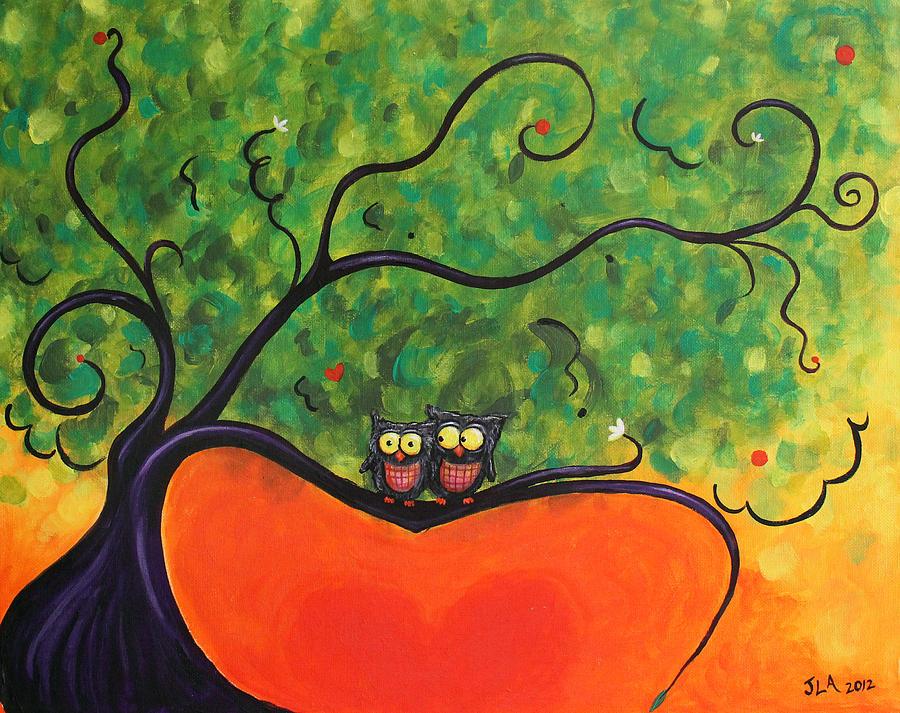Owls Painting - Owl Love You by Jennifer Alvarez