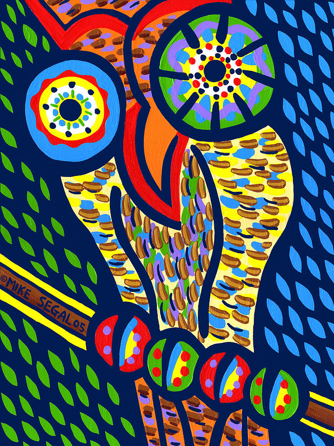 Owl Painting - Owl by Mike Segal