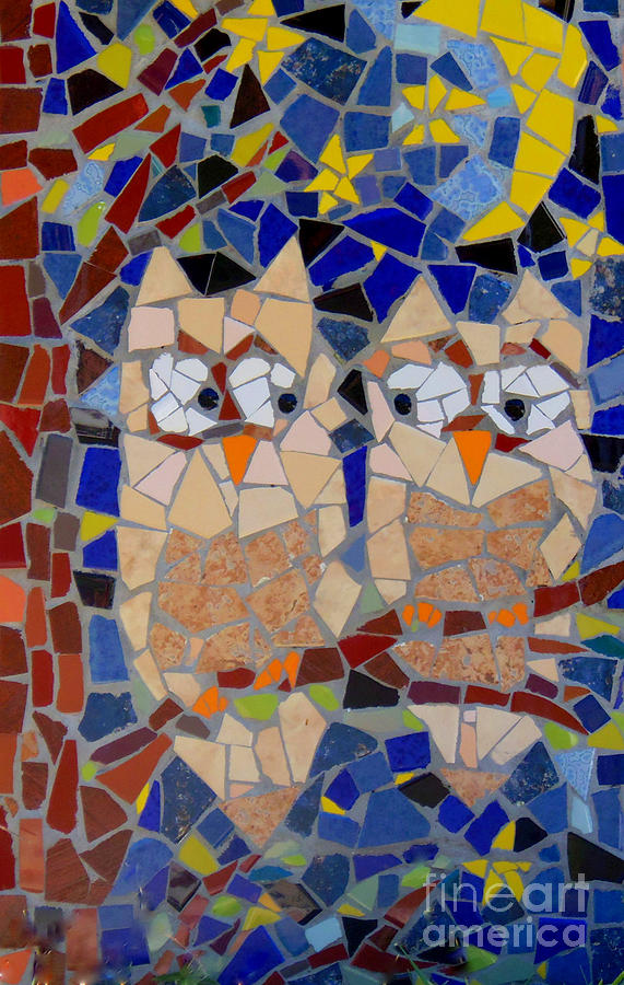 Owl Painting - Owl Mosaic by Lou Ann Bagnall
