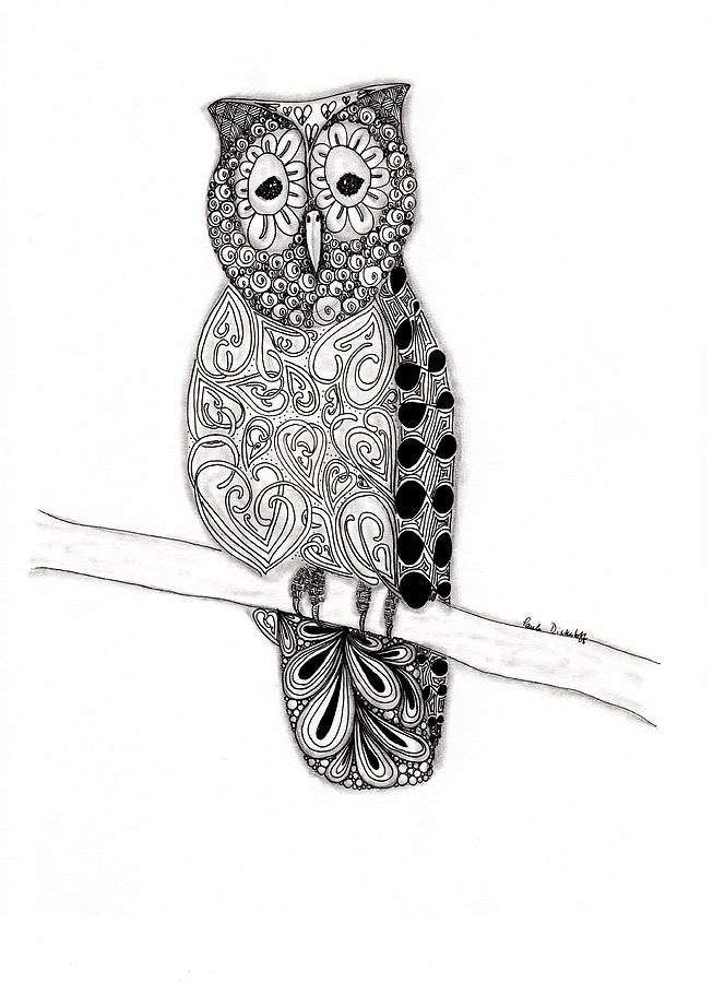 Owl Drawing - Owl On A Branch by Paula Dickerhoff