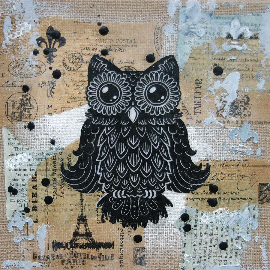 Lino Cut Painting - Owl On Burlap1 by Kyle Wood