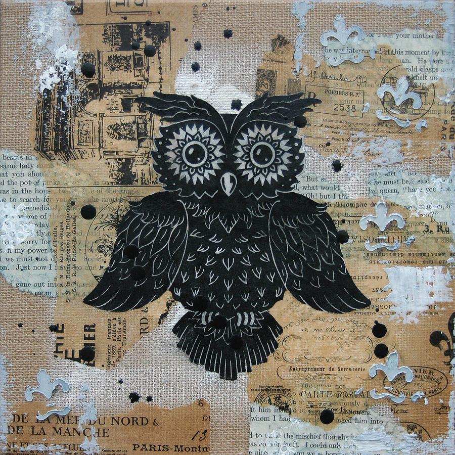 Owl. Hoot Painting - Owl On Burlap2 by Kyle Wood